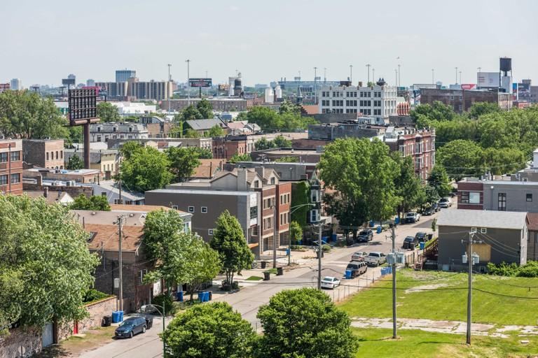 Aerial view of the Pilsen neighborhood