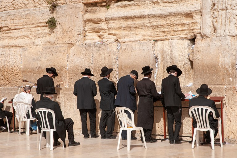 Orthodox Jews praying at the Western Wall, Jerusalem, Israel