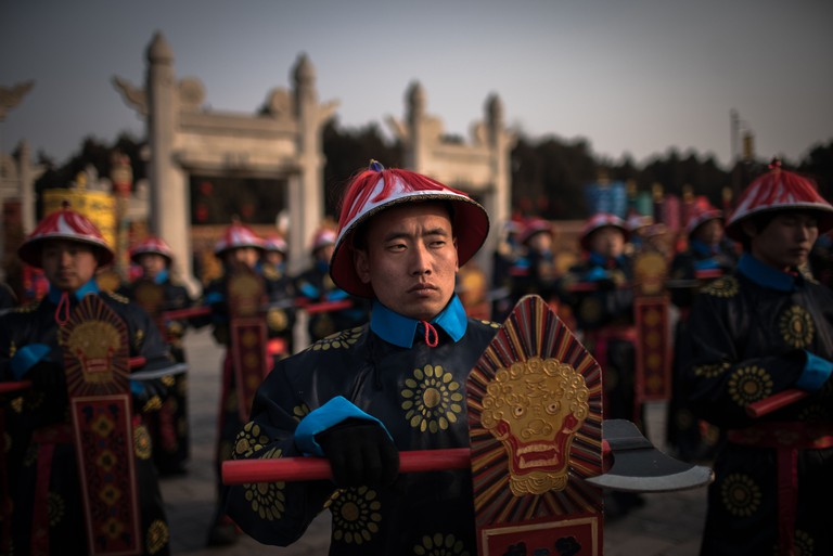 Mandatory Credit: Photo by ROMAN PILIPEY/EPA-EFE/REX/Shutterstock (10083106f) Chinese performers dressed in traditional costumes perform a reenactment of a Qing dynasty (1636-1912) imperial sacrifice ritual to worship the Earth, to mark the first day of the Lunar New Year, at Ditan Park in Beijing, China, 05 February 2019. Chinese Lunar New Year, or Spring Festival celebrations, which fall on 05 February this year, will mark the Year of the Pig. The Chinese Lunar New Year celebrations, Beijing, China - 05 Feb 2019