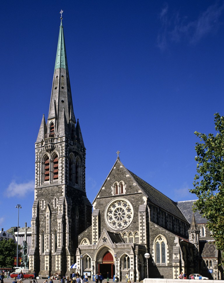Christ Church Cathedral on Cathedral Square, Christchurch, South Island, New Zealand.
