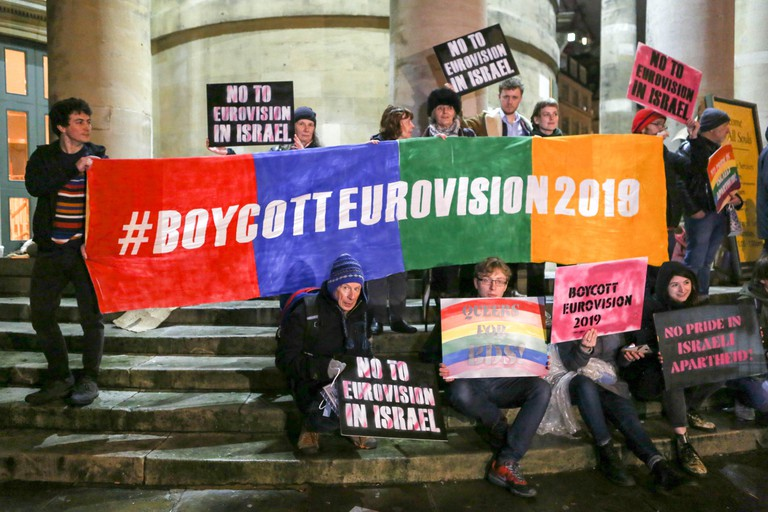 London, UK. 8th Feb 2019. Two groups of protesters outside Broadcasting House demonstrate for and against the 2019 Eurovision Song Contest being held in, Israel. 8th Feb, 2019. following Netta Barzilai's win at the 2018 edition. Credit: Penelope Barritt/A
