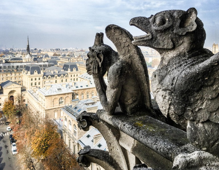 La Stryge (strix), the most famous chimera statue of Notre-Dame de Paris cathedral