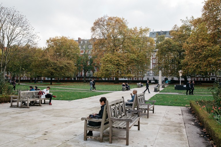 Grosvenor Square is popular with office workers looking to unwind on their lunch break