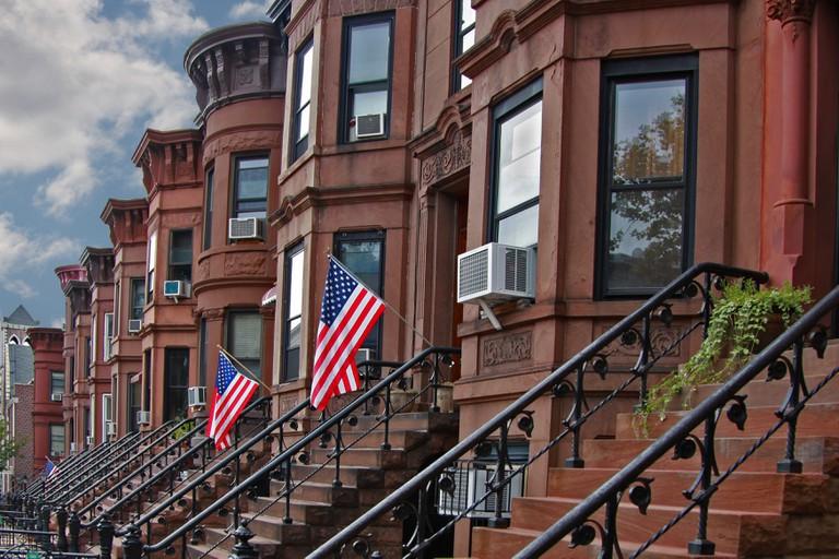 Brownstone Brooklyn/view of brownstone row houses in Sunset Park neighborhood of Brooklyn, New York.