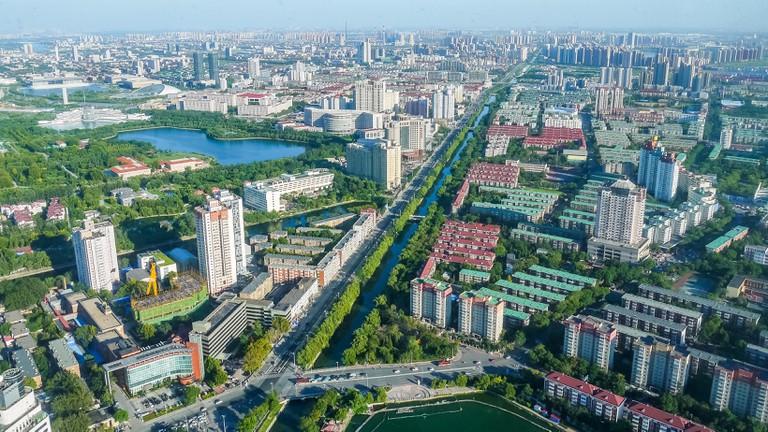 Cityscape of Tianjin, alongside Weijin River and Zijinshan Road towards east