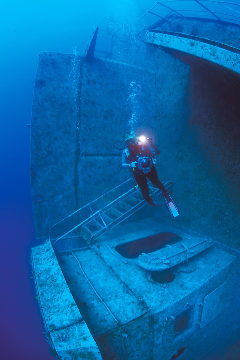 Diver on the Spiegel Grove shipwreck off Key Largo, Florida.