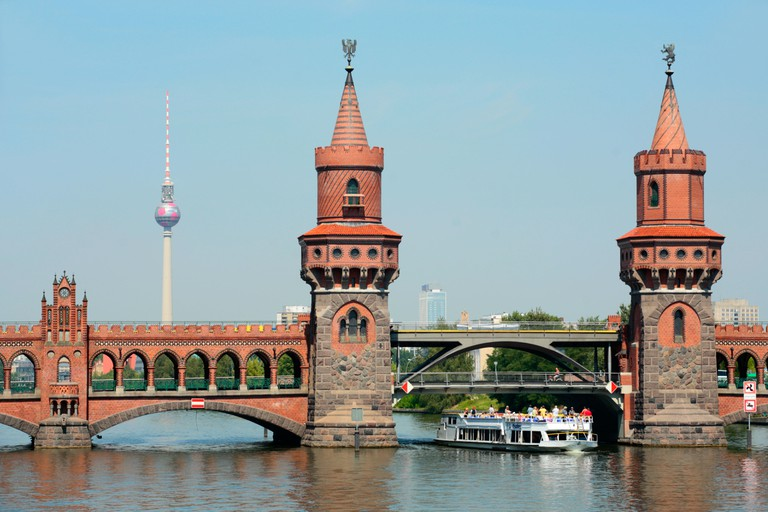 Oberbaum Bridge across the river Spree in Berlin with the television tower in the background. Image shot 2006. Exact date unknown.