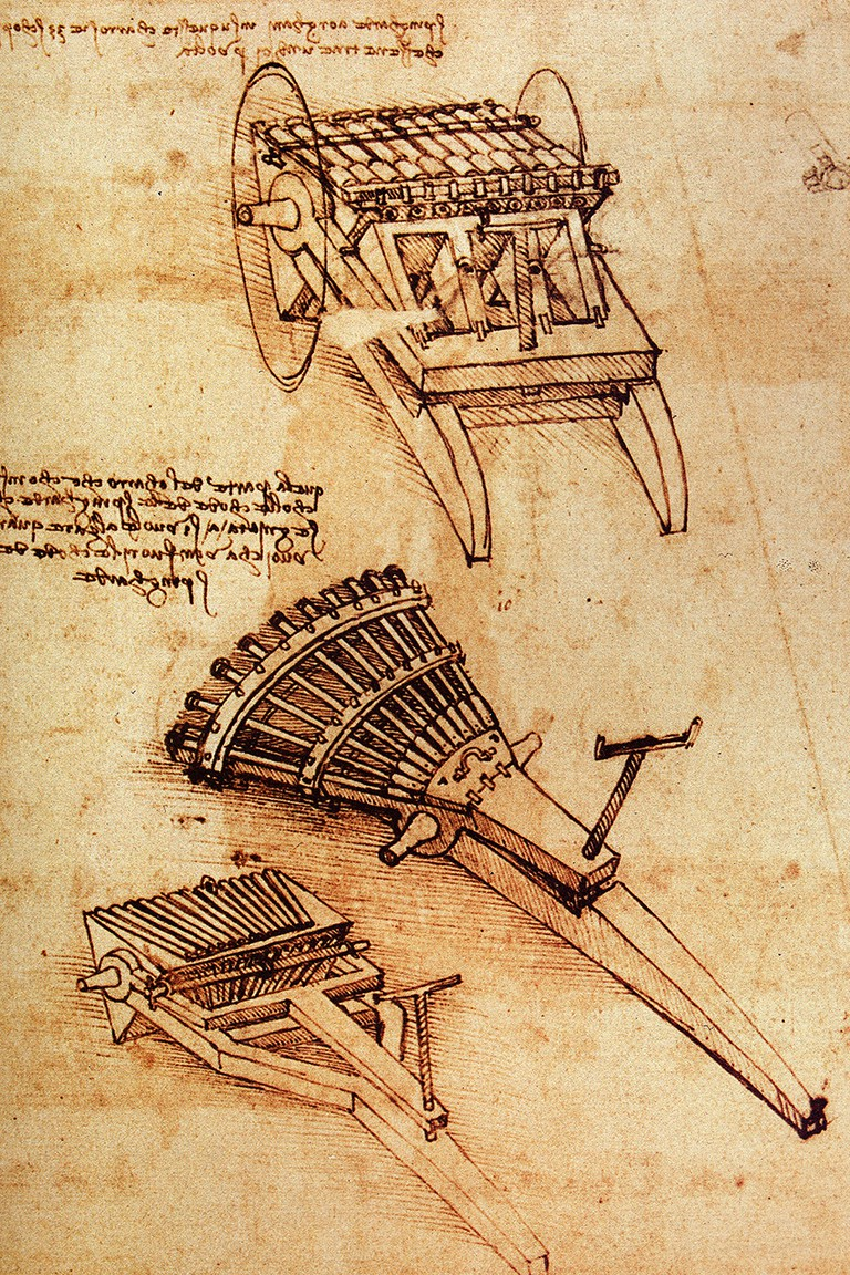 Design for a machine gun by Leonardo da Vinci