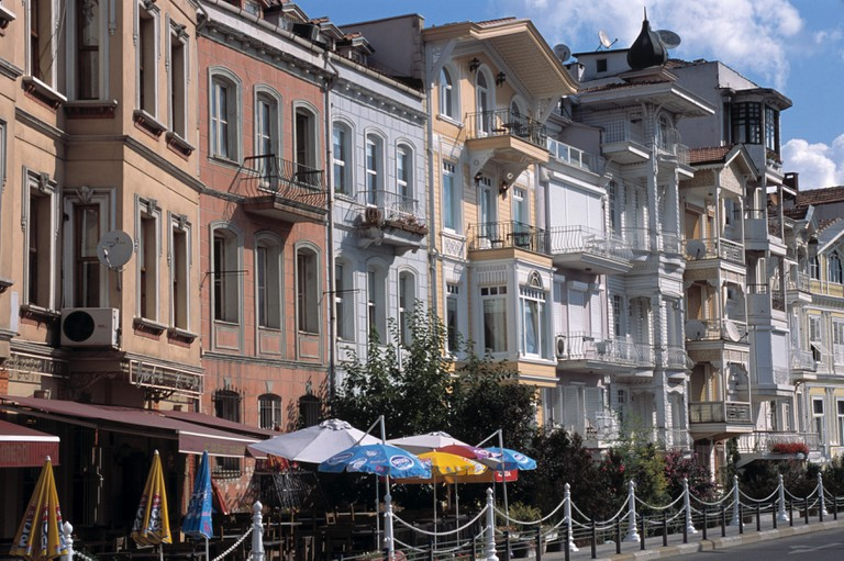 Row of houses and cafes overlooking the Bosphorus in Arnavutkoy, Istanbul.