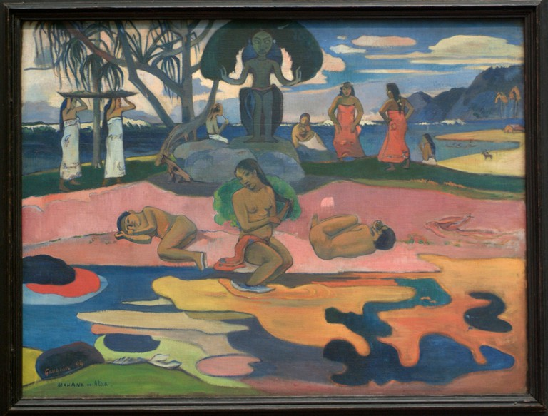The Day of the God (Mahana no atua) 1894, Paul Gauguin. The famous Art Institute of Chicago.