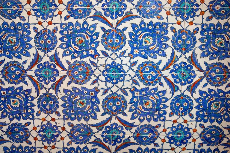The Sultan Ahmed Mosque (Blue mosque) Istanbul Turkey. blue ceramic tiles interior  101054_Turkey