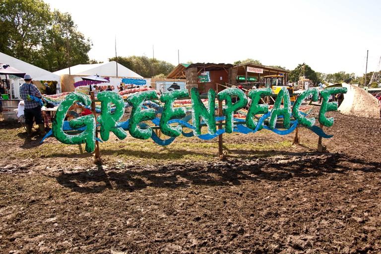 Greenpeace sign at the Glastonbury Festival 2011