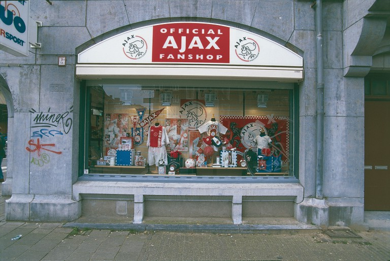 Netherlands - Netherlands - Amsterdam. Shop with merchandising of the football team of the 'Ajax. ""