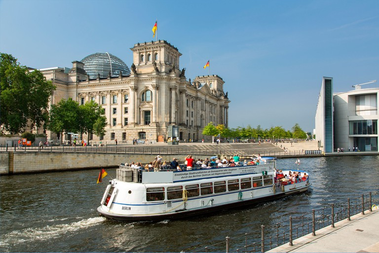 Europe, Germany, Berlin, A tour boat on the Spree River. Image shot 08/2018. Exact date unknown.