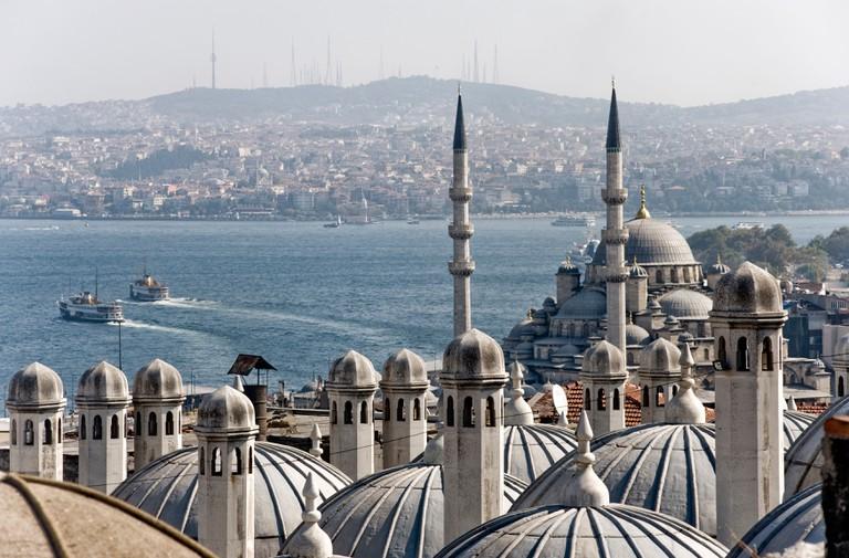 Istanbul; Yeni Camii, (new Mosque) and the Bosphorus.