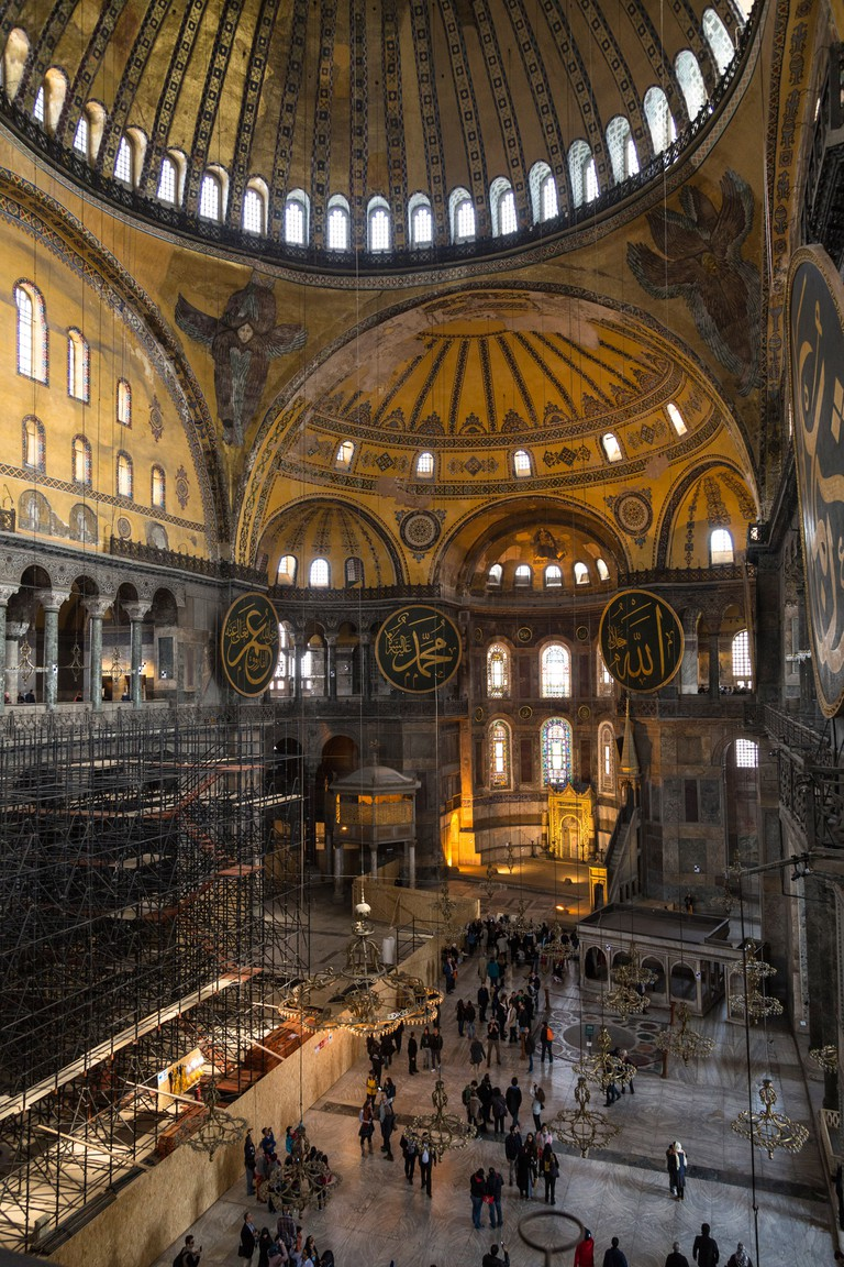 Inside the Hagia Sophia, Istanbul, Turkey.