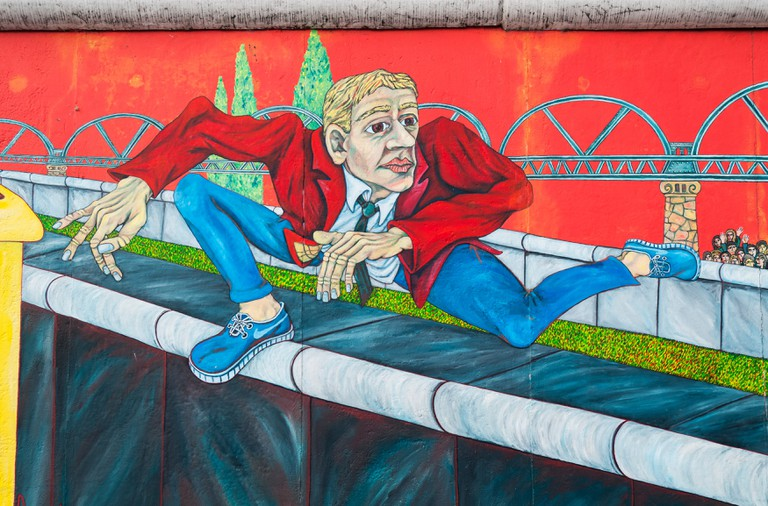 Der Mauerspringer (Wall Jumper) painting by Gabriel Heimler, East Side Gallery, Berlin Wall (Berliner Mauer), Germany