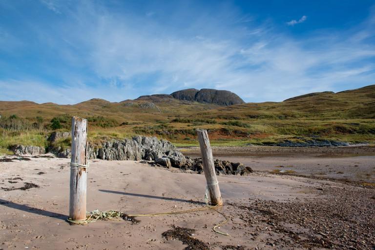 Landscape of Sandaig Bay on Loch Nevis Knoydart on the west coast of Scotland.
