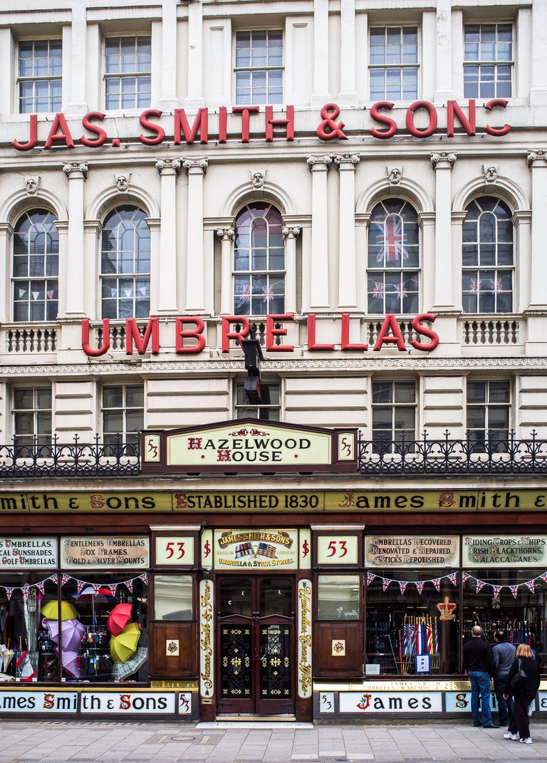 The famous umbrella shop on New Oxford Street, London .UK. James Smith & Sons. Established 1830.