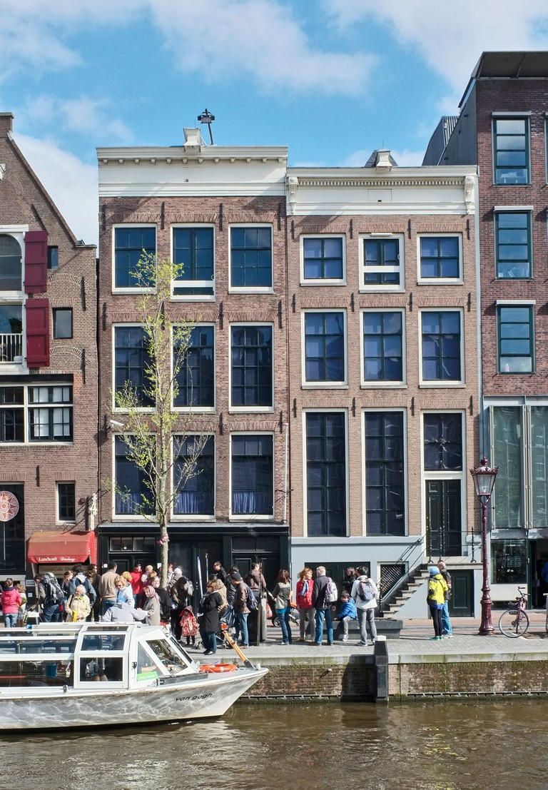 Tourists outside Anne Frank's house in Amsterdam