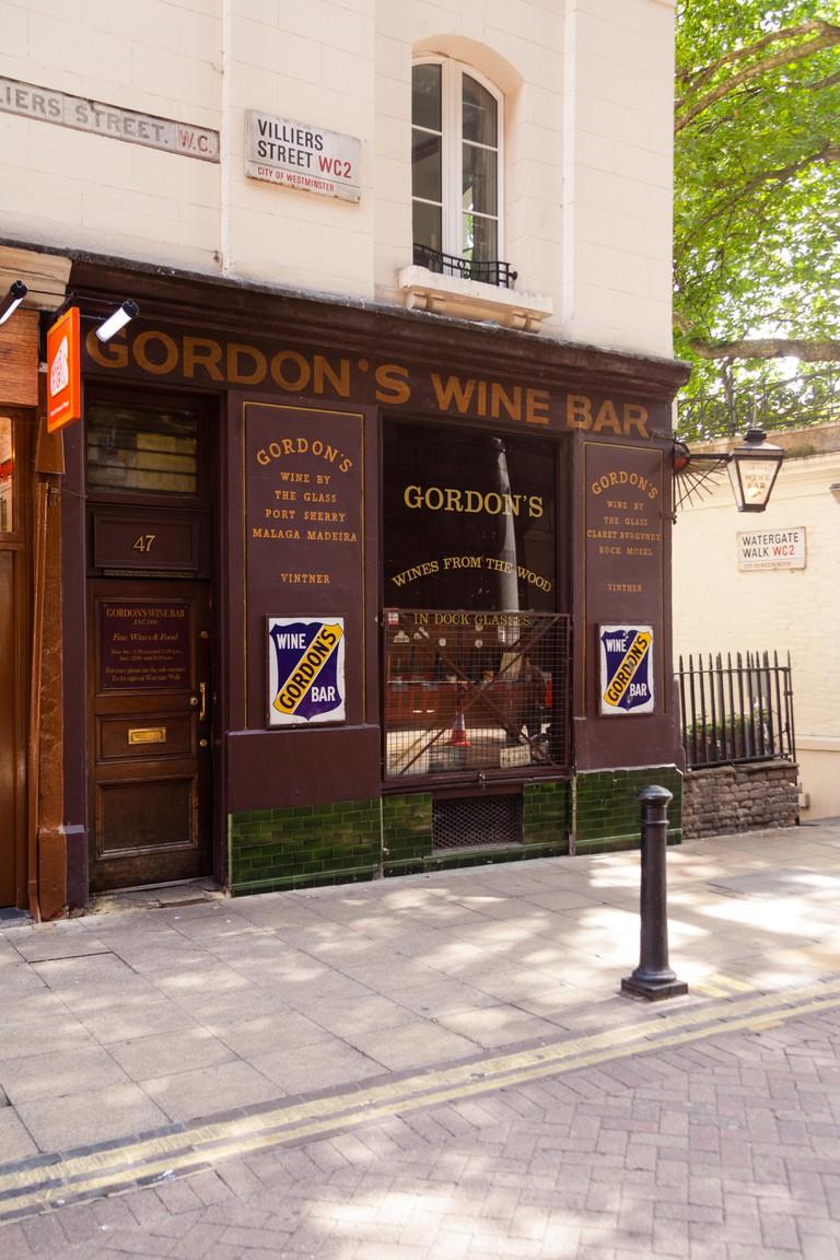 Gordon's Wine bar, Villiers Street, London, England, United Kingdom.