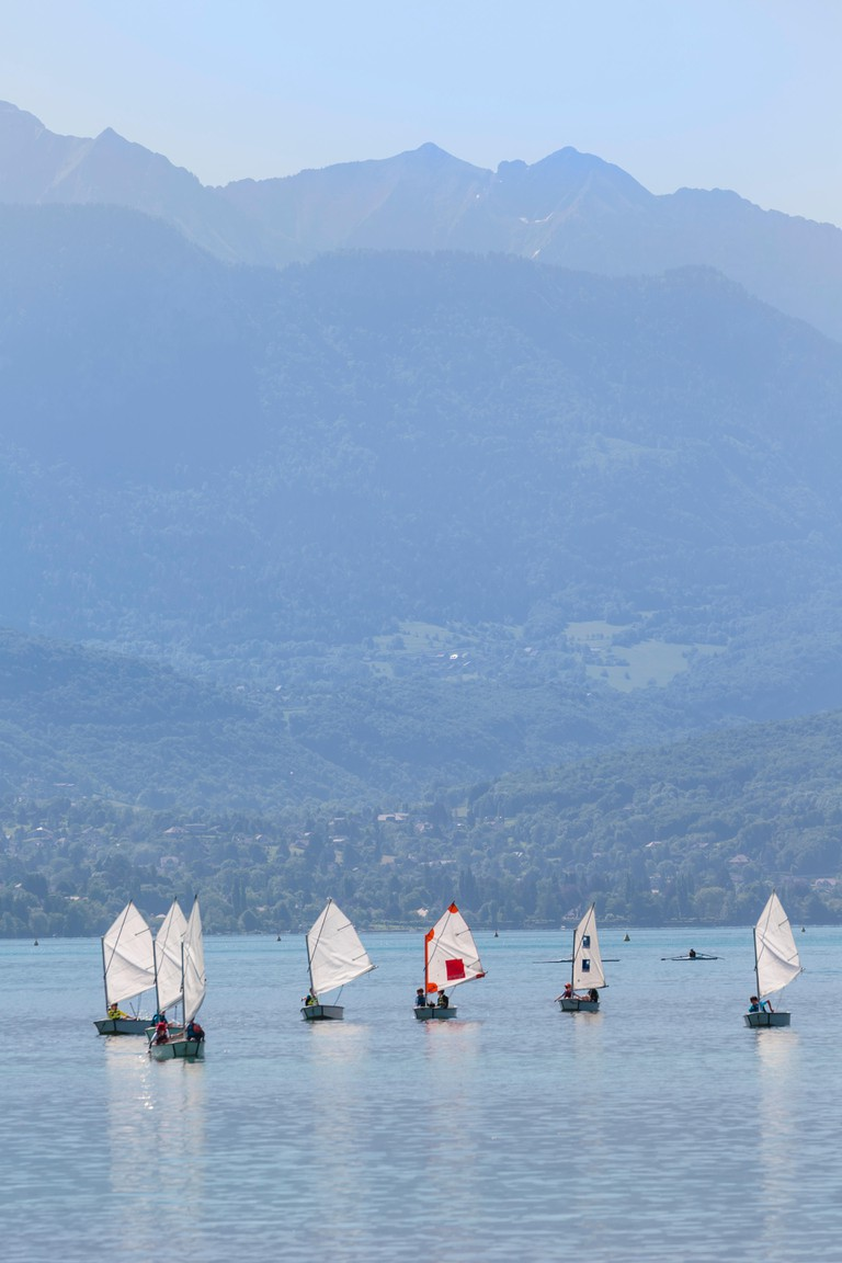 Sailing boats on Lake Annecy