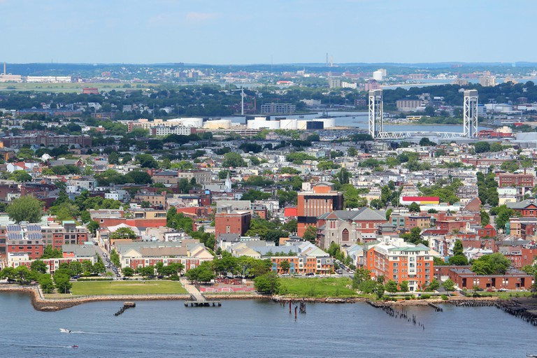 City aerial view with East Boston and Eagle Hill.