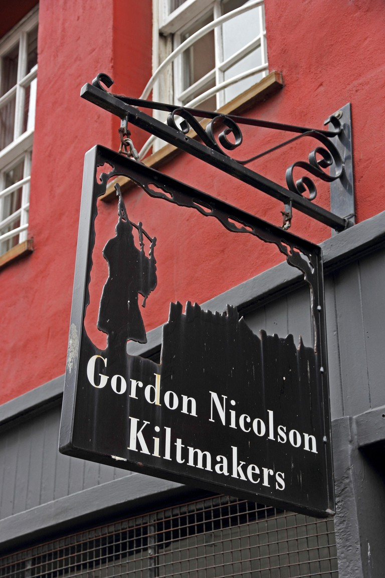 Sign over Gordon Nicholson Kiltmakers shop, Edinburgh, Scotland