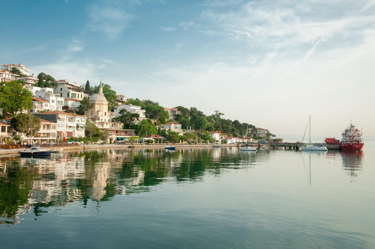 Port of Burgazada, the third largest of the Princes' Islands in the Sea of Marmara,