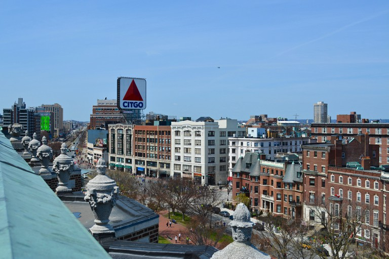A view above Kenmore Square in Boston's Fenway neighborhood with the famous CITGO sign in the distance.
