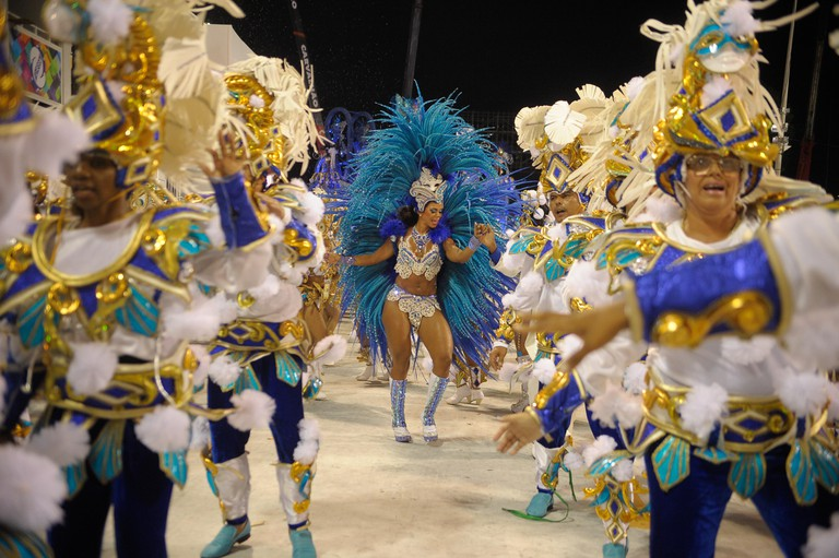 Costumed samba dancers perform in the Sambadrome during Rio Carnival, Rio de Janeiro, Brazil