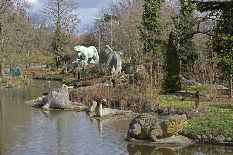 Life-size dinosaur statues in Crystal Palace Park, London. Erected as part of the Great Exhibition in 1854