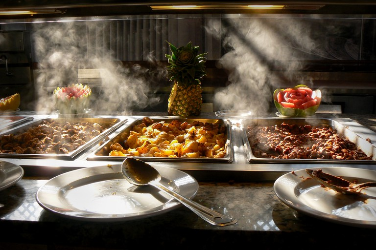 Hot Food from a Tropical  Buffet