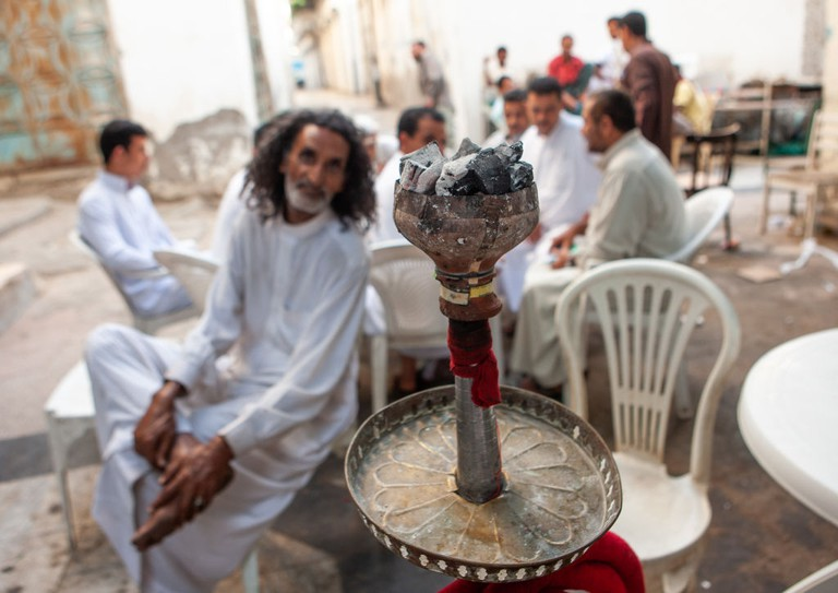 Men having a rest in a local cafe, Hijaz Tihamah region, Jeddah, Saudi Arabia