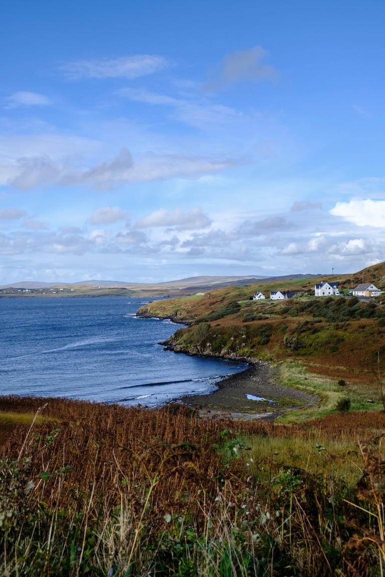 Coastal scenery of Fiskavaig Bay on Isle of Skye, Scotland.