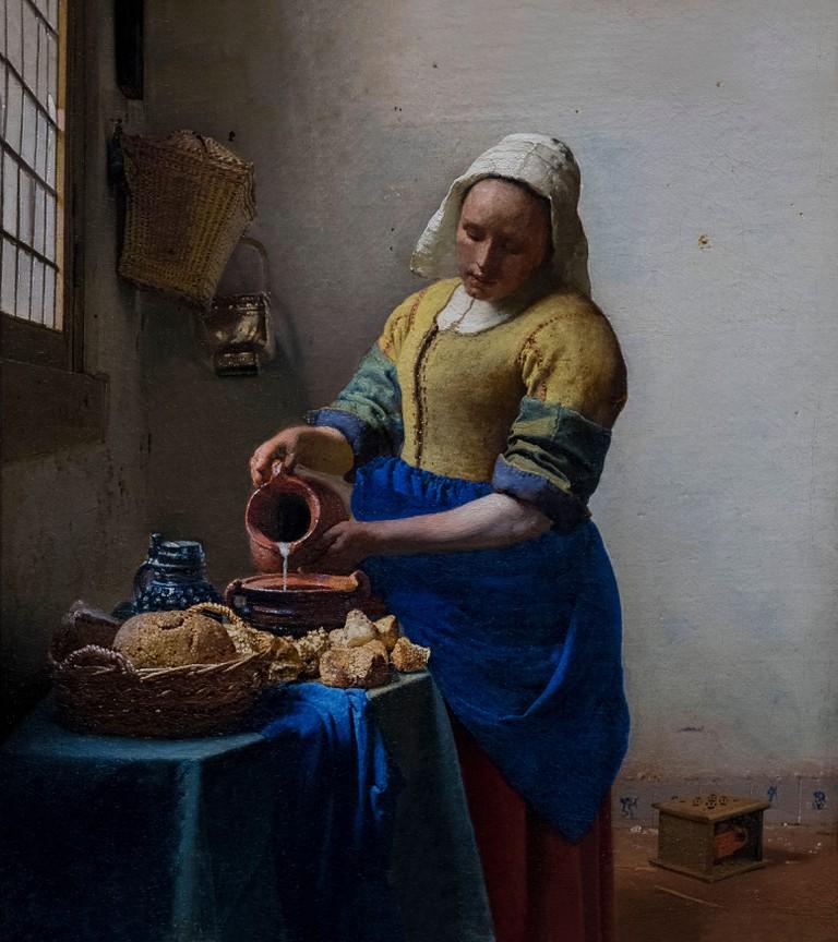 The Milkmaid, by Johannes Vermeer, circa 1660, Rijksmuseum, Amsterdam, Netherlands, Europe