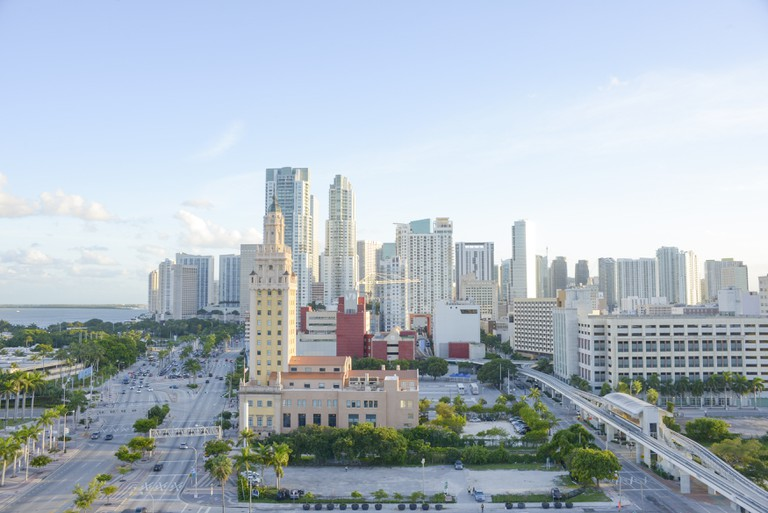 Sunset lights of Biscayne Boulevard, American Airlines Arena and the skyline of Miami, Florida, USA