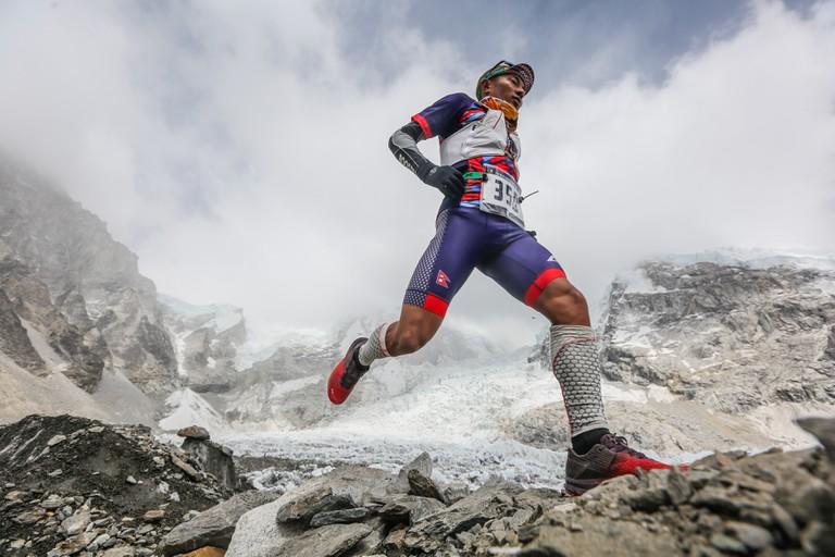 Everest Extreme Ultra (60km) winner Tirtha Bahadur Tamang in action near Everest base camp