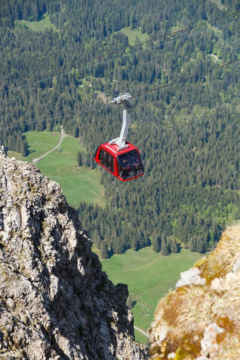 Cable car on Mt Pilatus, Lucerne, Switzerland.
