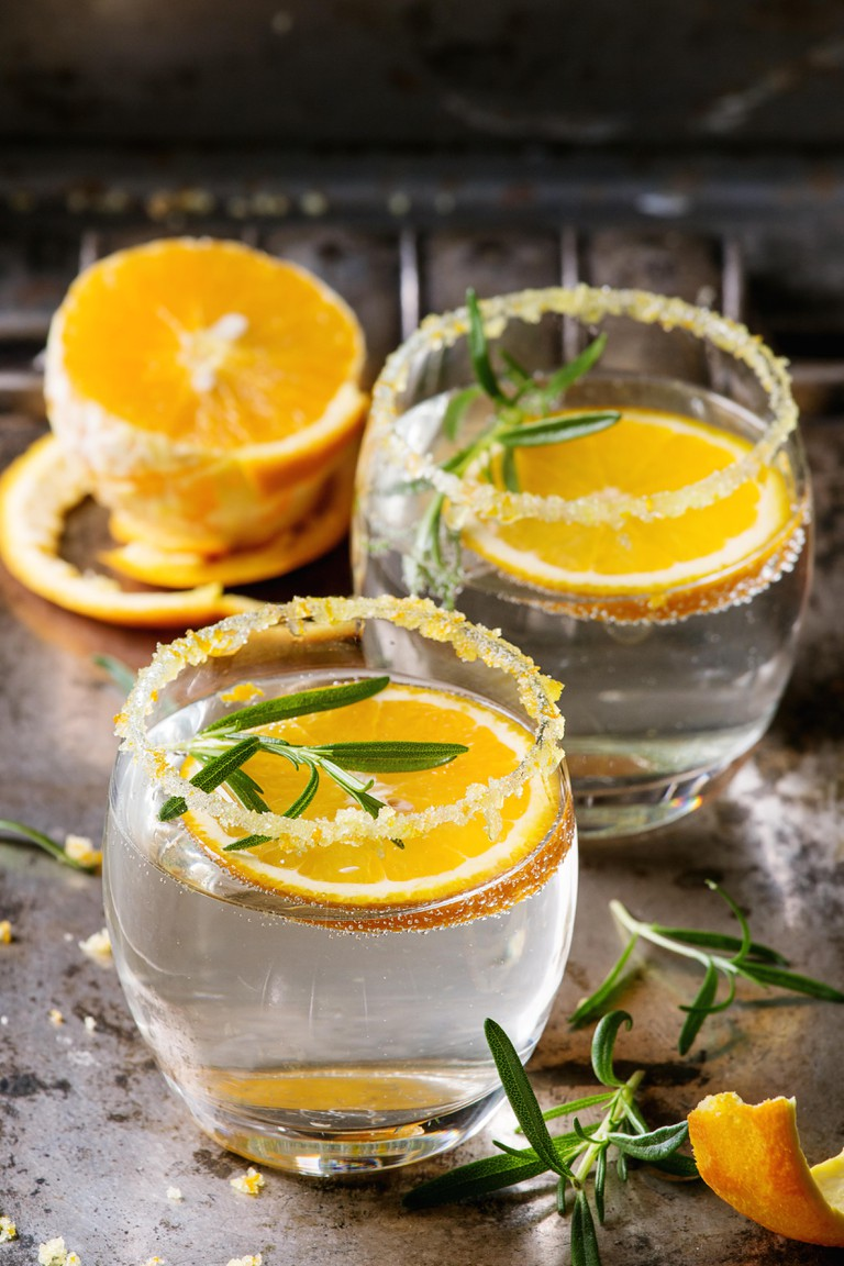 Cocktail with rosemary and orange