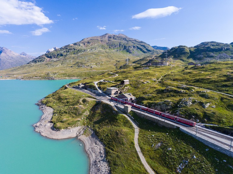 The Bernina Express running along the Bernina Pass