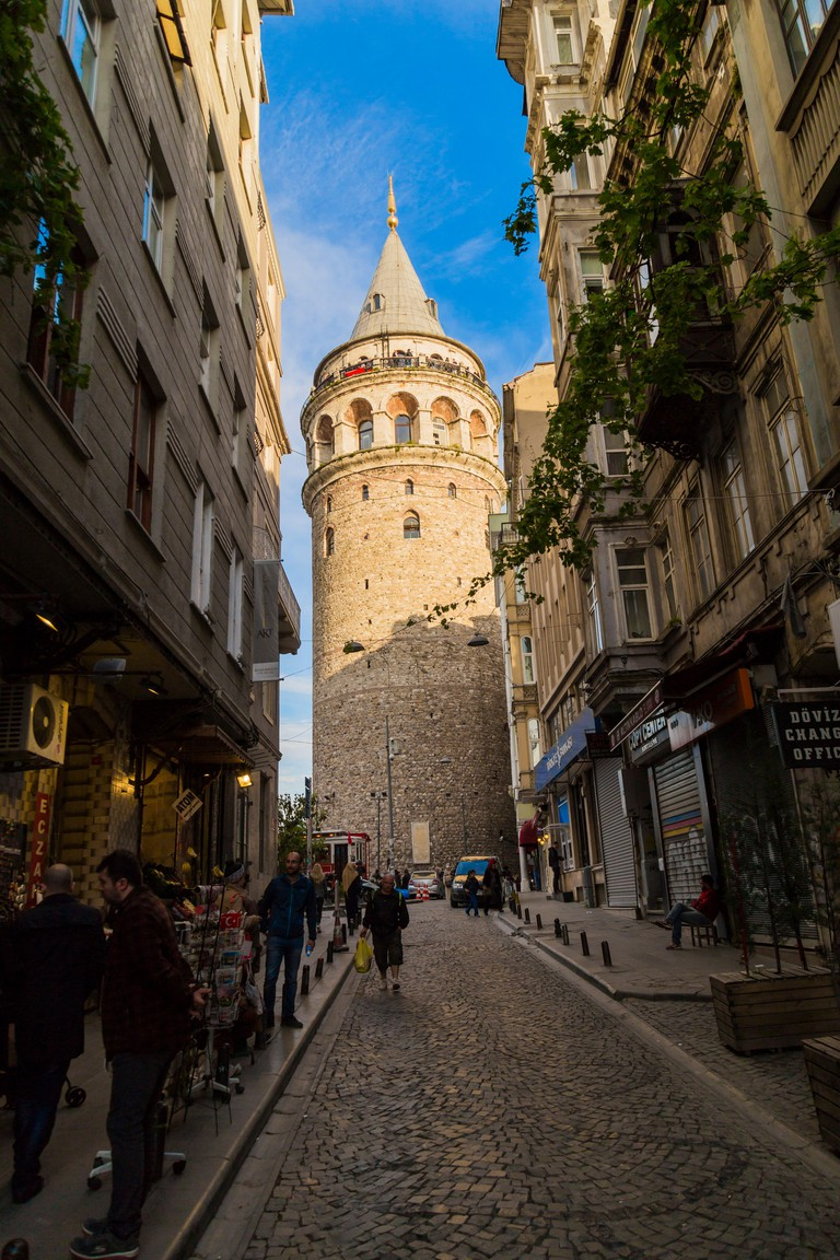 Galata Tower view with blue sky, Istanbul, Turkey.