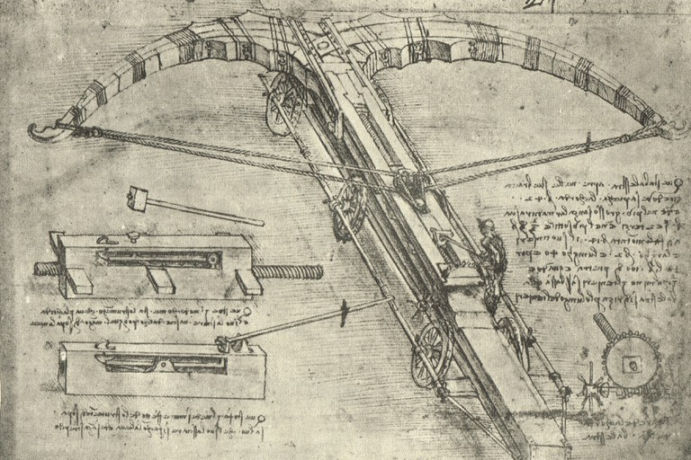 Enormous crossbow on wheel, drawn by Leonardo Da Vinci, circa 1485-88. Image shot 1947. Exact date unknown.