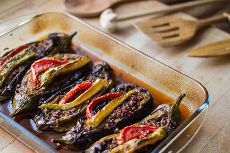 Turkish meat food with minced meat and eggplant / aubergine called karniyarik.