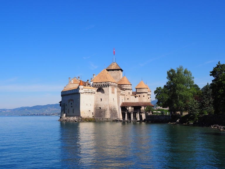 View of medieval Chateau de Chillon castle at Lake Geneva in Montreux city.