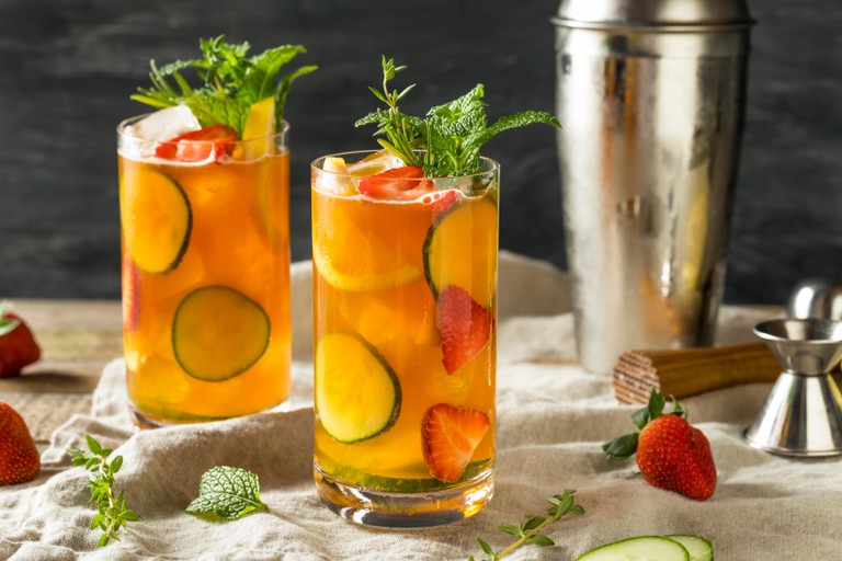 Refreshing Pimms Cup Cocktail with Fruit and Mint