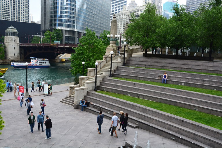 The seating terrace on the Chicago River leading from Upper Wacker Drive down to the Vietnam Memorial Plaza at the Riverwalk level.