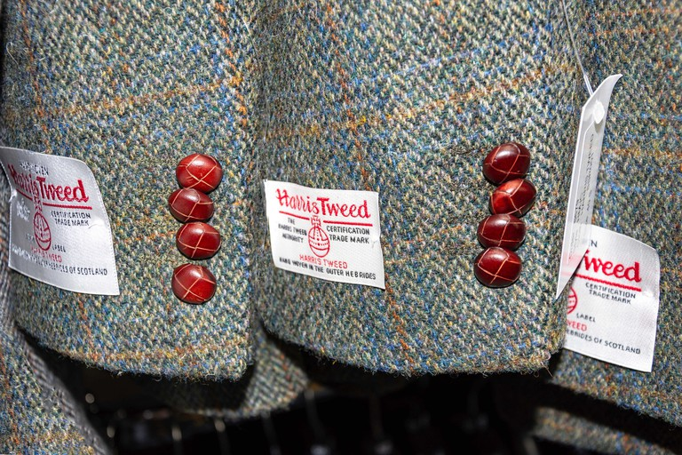 Men's Harris Tweed jacket sleeves, Tarbert (Tairbeart), Isle of Harris, Outer Hebrides, Na h-Eileanan Siar, Scotland, United Kingdom