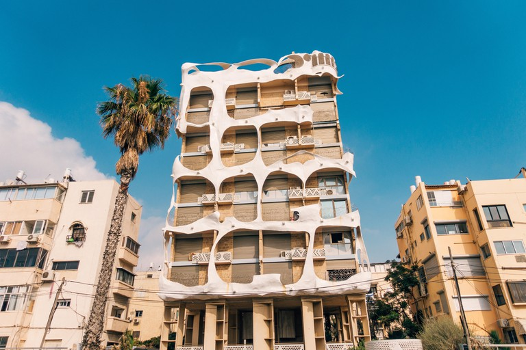 Crazy House, a nine-storey postmodernist apartment building designed by Syrian-born architect Leon Gaignebet, on Hayarkon in Tel Aviv