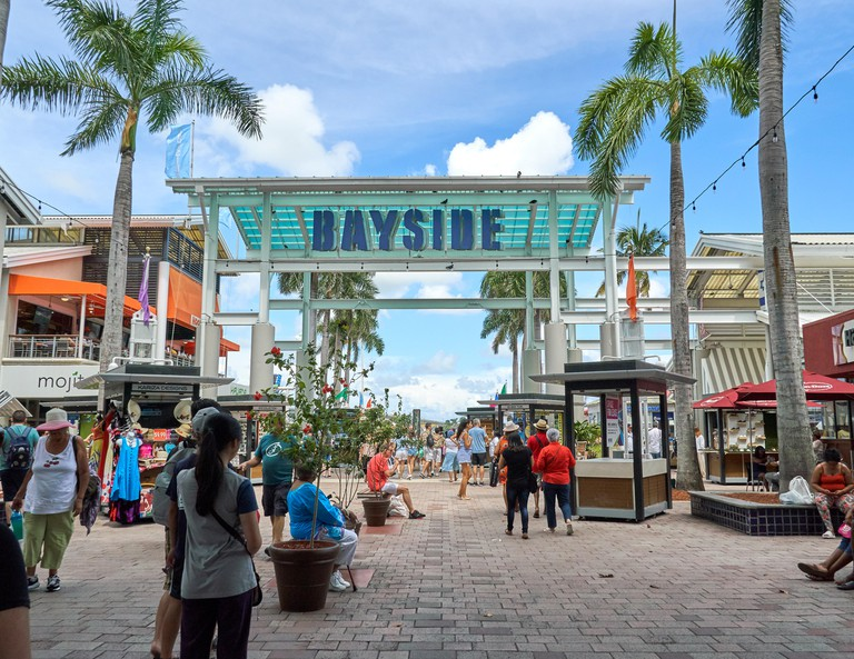 Bayside Marketplace, a two-story open air shopping center located in the Downtown Miami.